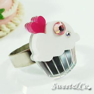 mini white cupcake crystal silver ring - Bileklikler ve Y�z�kler (;