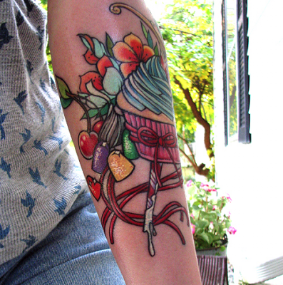 Dagger Cupcake and Candy Tattoo