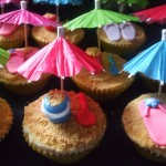 beach cupcake with bucket and flip flop shoes